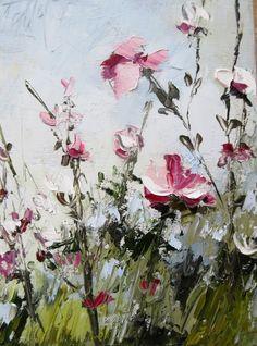 Belle Saison 2 .... : Peinture figurative fleurs : peinture à l'huile au couteau sur toile de coton : dimensions = 18/24 cm .... : Dipinti di les-reves-de-minsy