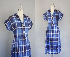 40's Featherweight Plaid Dress