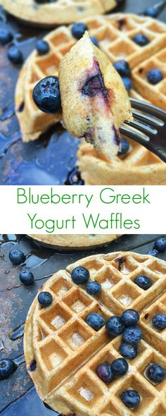 Fluffy on the inside, crispy on the outside, these Blueberry Greek Yogurt Waffles are packed with protein and whole grains. Fluffy on the inside, crispy on the outside, these Blueberry Greek Yogurt Waffles are packed with protein and whole grains. Healthy Breakfast Recipes, Brunch Recipes, Healthy Waffles, Protein Waffles, Greek Yogurt Recipes Breakfast, Recipes With Yogurt, Crepe Recipes, Healthy Recipes, Healthy Snacks