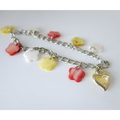 MOP Shell Flower Charm Bracelet - Pastel Pink Yellow and White Girls Gift - Mother of Pearl