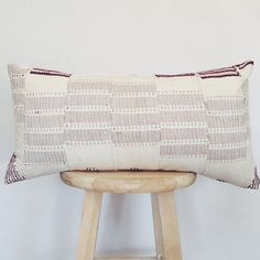 Vintage African Aso Oke Cloth Lumbar Pillow Cover, Mothers day gift, gift for her, White, Natural, Boho, mudcloth, mud cloth 'Ede' 12x24