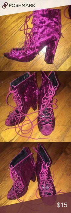 Laced Up Peep Toe Heels Faux Suede Heels. A beautiful magenta/purple color and have only been worn a couple of times. Shoes Heels