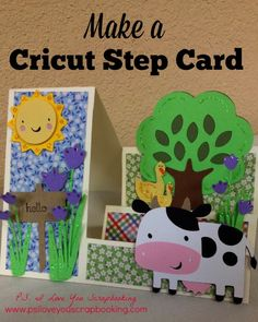 See link for making side step card. Learn to make a Stair Step Card - A template and instructions are included. Decorate it using a cow, tree, ducks, flowers, and sun from the Cricut. Fancy Fold Cards, Folded Cards, Side Step Card, Create A Critter, Step Cards, Cricut Cards, Card Making Techniques, Kids Cards, Baby Cards
