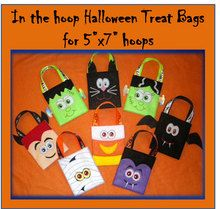 In The Hoop Halloween Treat bags Embroidery Machine Designs for 5x7 hoops