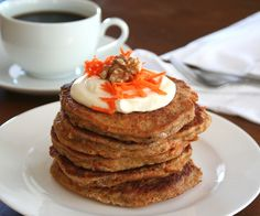 Low carb-gluten free Carrot Cake Pancakes.... I will skip the cream cheese topping and use some applesauce to keep the fat to a minimum.
