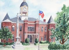 Southern Courthouse in Alabama. Architectural Portraiture.  Artist's Excerpts — Lydia Marie Elizabeth