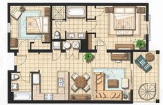 2 bedroom 2 bath cottage plans | Two Bedroom Presidential Suite