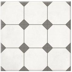 Carrelage CARRON, aspect carreaux de ciment blanc, 31,6 x 31,6 / ref 44470/3131