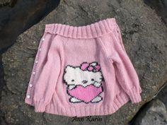 Hello Kitty kragejakke strikket i Jade (STRIKKEPINNEN)