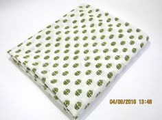 1 yard green tree pattern/leaf border India summer Cotton Fabric/Natural…