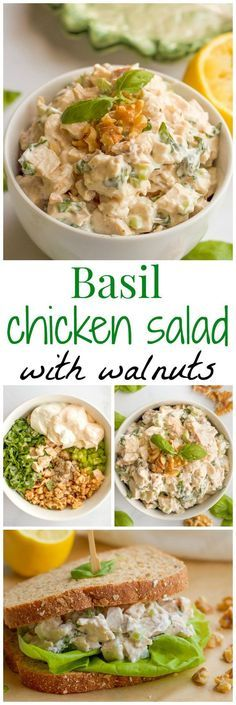 A creamy but healthy chicken salad with fresh basil and chopped walnuts, perfect for a sandwich or wrap at lunch! | FamilyFoodontheTable.com