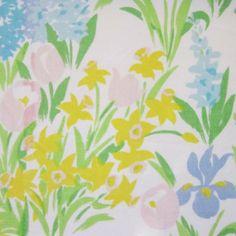 1960's vintage fabric fat quarter (faded spring garden)