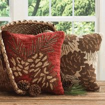 Pinecone Hooked Pillow Covers