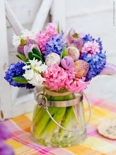 Hyacinth arrangement ~ I love the smell of these in the Spring!