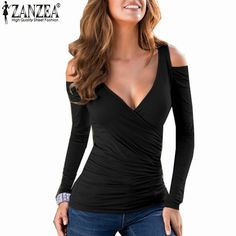 Barato Zanzea T mulheres 2016 Sexy Bodycon ombro Casual Tops de manga longa Sexy V pescoço t shirt Blusas Femininas Plus Size, Compro Qualidade Camisetas diretamente de fornecedores da China:   Zanzea Fashion Blusas 2016 Summer Elegant Women Blouse Flower Embroidery Vintage Shirts Organza Sleeve Tops Plus Size