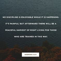 11 Now no chastening seems to be joyful for the present, but painful; nevertheless, afterward it yields the peaceable fruit of righteousness to those who have been trained by it. (Hebrews 12:11 NKJV)