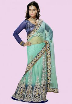 """Rama Net Designer Saree With Blue Net And Dhupian Blouse   INR:-9690 Only (With Discount 25% !! Use Coupon Code """"FLAT 25″ To Avail The Discount)"""