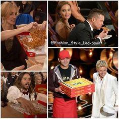 ELLEN DEGENERES get a Real Pizza Guy at THE OSCARS 2014#ellendegeneres #bradpitt #angelinajolie #juliaroberts #pizza #food #cheese #lol #jaredleto #theoscars2014 #omg #gorgeous #fashion #funny #host #oscar #burger #jenniferlawrence #hollywood #night... - Celebrity Fashion