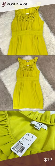 F21 Dress Here's a gorgeous dress by forever 21, brand new with tags! Size large! There's one tiny mark on the front as shown, it may be able to come out of the wash, I have yet to try as it is new with tags! Love the fun yellow chartreuse color! Forever 21 Dresses