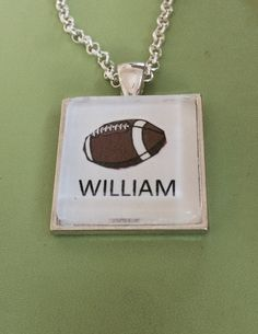 Football with Name Pendant Necklace by joytoyou41 on Etsy, $20.00