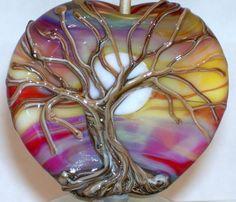 WSTGA~THE AWAKENING~MOON TREE SUNSET handmade lampwork focal glass bead SRA #Lampwork By Molly Cooley