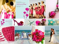 The Perfect Palette: {A Beach Wedding}: Aqua & Fuchsia- I could see this with tangerine