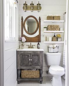 If you are new around here you might not know I built our tiny bathroom vanity last year. It was a great way to add a lot of character to such a small space (and to reuse the sink basin). Free build plans are linked in my profile! by shadesofblueinteriors