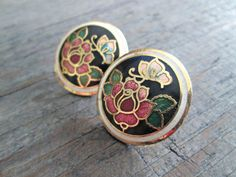 Vintage Cloisonne Earrings Rose Enamel Earrings by EarthChildArt