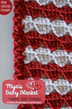 Mya's Baby Blanket - Free Crochet Pattern in 11-sizes. #freepattern #crochet #blanket #afghan