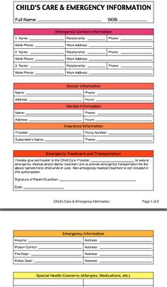 Child 39 s care and emergency contact information form by for Daycare information sheet template