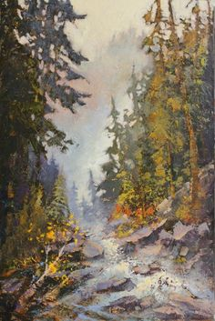 acrylic waterfalls,36 x 24 inches    Linda Wilder's paintings are amazing! Makes me feel like I am walking down the path ;)