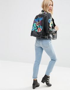 Image 2 ofASOS Premium Biker Jacket With Floral Embroidery