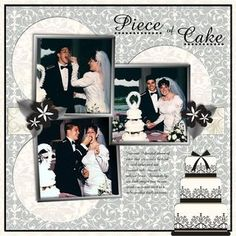 Piece of Cake Divine Wedding Day Digital #Scrapbooking Layout from Creative Memories  http://www.creativememories.com  #scrapbooking #Lesliebeahm