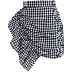Chicwish Nifty Slanted Ruffle Gingham Bud Skirt ($37) ❤ liked on Polyvore featuring skirts, black, chicwish skirts, flounce skirt, gingham skirt, flouncy skirt and frilly skirt