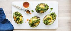 Avocado Egg, Fresh Rolls, New Recipes, Gluten Free, Eggs, Tasty, Breakfast, Ethnic Recipes, Food