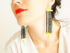 BLACK & GOLD BABY!! EARRINGS // Tanysia // Handmade Tribal Lace Earrings  by EPUU, $26.00