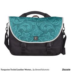 Turquoise Tooled Leather Western Design Laptop Messenger Bag.. could work as a diaper bag.