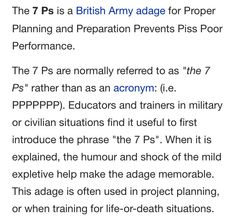 The seven Ps
