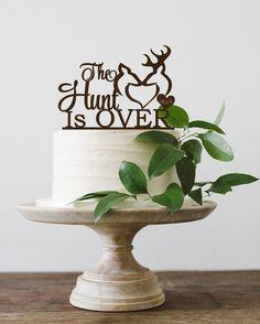 Wedding Cake Topper The hunt is Over Deer Cake Topper Custom Wedding Cake Topper Buck and Doe Rustic Wedding Cake Topper Wood by BestWeddEver on Etsy