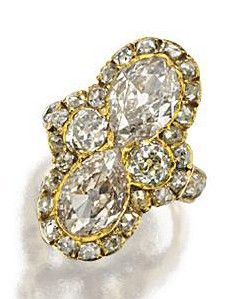 ANTIQUE DIAMOND RING, LATE 19TH CENTURY. Vertically set with 2 pear-shaped diamonds weighing approximately 2.75 carats in a modified cruciform design, additionally decorated with 32 old-mine diamonds weighing approximately 2.50 carats, mounted in gold, size 4 ¾.
