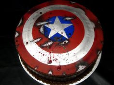 Epic and kind of dark Captain America groom's cake.