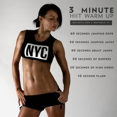 Are you looking for a great little warm up to your main exercise routine? Try this 3 minute H.I.I.T. warm up that will surely get your heart pumping at ful