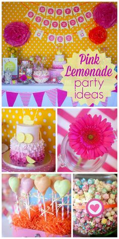 A Sunshine and Lemonade themed 1st birthday party in pinks and yellows! See more party ideas at CatchMyParty.com!