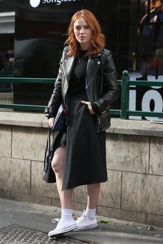 Pin for Later: See All the Celebrities at London Fashion Week Angela Scanlon At the Ryan Lo show. Angela Scanlon, Biker Jacket Outfit, Bionic Woman, Hairstyle Look, Tv Presenters, Fashion Week, Everyday Fashion, Redheads, Celebrity Style