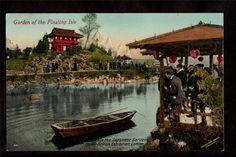 1910 Garden Floating Isle Japan British Exhibition London UK Exposition Postcard