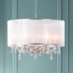 """Possini Euro Farina 23"""" Wide Organza Silver Pendant Light"""