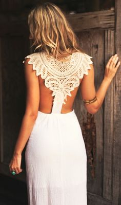 idea for back of lehnga top or sari blouse - White Back Detail Maxi Dress