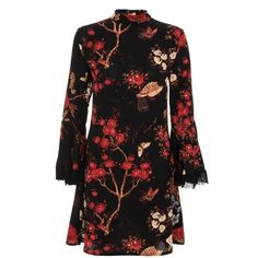 Black And Red Crepe Oriental Print Frill Dress (€34) ❤ liked on Polyvore featuring dresses, frilly dresses, red and black dress, print dress, frill dress and mixed print dress