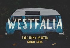 Westfalia is a hand painted brush sans from Pixel Surplus.  This font  provides an authentic hand drawn feel with its messy edges and varied line  thickness.  Great for any design work related to the outdoors and  exploration. - Free for personal & commercial use  DOWNLOAD WESTFALIA Email Address *  Thank you!  CLICK HERE TO DOWNLOAD WESTFALIA  We'll only contact you with free products and great deals!     SHARE THIS FREE FONT