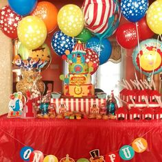 Fisher Price Circus theme. First birthday cake. Aaron's cake designed by me…